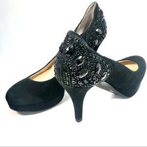 Gianni Bini | Black Suede Beaded Platform Heels, 8